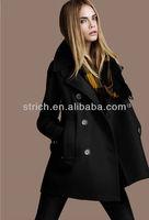 Winter 2013 new European and American women's Slim wool double-breasted woolen coat lapel temperament / wool coat