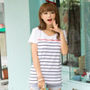 Horizontal Stripe O-neck Lady T-shirt OEM Design