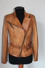 Italian soft Genuine lambskin leather slim fit asymmetrical women jacket color washed tan