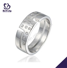 Easy style Z pattern stone area hollow silver ring cup