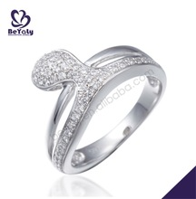 Pave setting fashion jewellery diamond silver ring sport