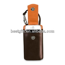 Cow genuine leather cell phone leather case fasten closure with strap