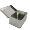 custom rectangular plain metal tin box hinged