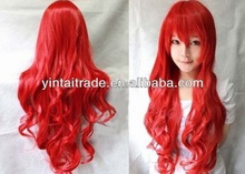 New - Fashion Cute Women Girls Long Curly Full Hair Wigs cosplay party red