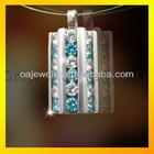 synthetic diamond on stainles steel pendant