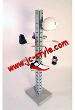 free standing retail store metal sport goods display rack/custom metallic pos disply stand