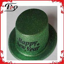 green new year glitter top hats