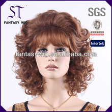 ST middle long 100% kanekalon fashion blonde curly synthetic wigs to export
