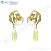 Stylish Cz & Lemon Quartz Silver Earrings, 925 Sterling Silver Jewelry