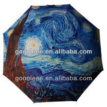 stock oil painting fold umbrell/famous painter umbrella
