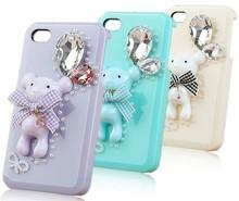 diamond candy color bear pendant mobile phone case for 4s/5c,samsung