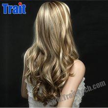 Wholesale Elegant Woman Girl Wigs Kanekalon Fiber 23.62 inch Long Blonde Body Wave Wig