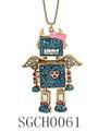 ファッションクリスタルロボットペンダントネックレス