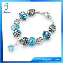 Valentine's gift bracelet,blue lucky bead pandoar bracelet for love charm(xh-PDL107)