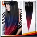 Las mujeres con encanto 3 colores de tono clip en la extensión del pelo, negro azul rojo virgen brasileña ombre de pelo clip en la extensión