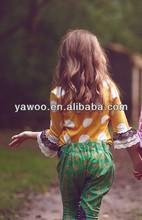 2014spring so cute wholesale baby girls tshirt for girls cotton ruffle t shirt baby girls yellow lace ruffles polka dots shirts