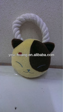 Japanese cat with rope pet toy