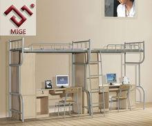 Melamine and Steel Frame Student Bunk Bed with Desk