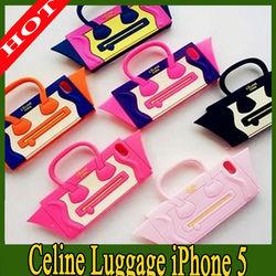 Newest for iPhone 5 Celine Luggage Smiling Handbag Silicone Case