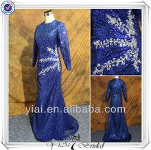 RSE44 Navy Blue Sequin Long Sleeve Muslim Evening Dress