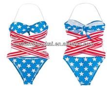 Summer Women Hot Sexy STARS and STRIPES USA Flag bikini 2012 PADDED TWISTED BANDEAU tube BIKINI AMERICAN 2013 Swimwear