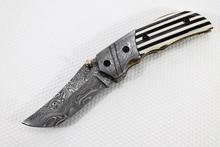 137FOP Beautiful Custom Hand Made Damascus Steel Folding Blade Knife