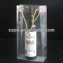 transparent red PVC wine ice cooler bag