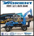 Wyl4.8 pequena escavadora de rodas yugong/yorient marca novo, martelo quebrada e longo braço de escavação para uso especial