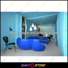 Fabulous blue curved shaped design acrylic Solid Surface modern executive desk germany office furniture