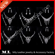 2014 New hot sale fashion four rhinestone spring wedding jewelry set necklace earring vners MLRS-B040