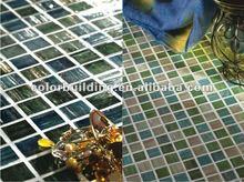 Metal streaked golden select mosaic wall tile