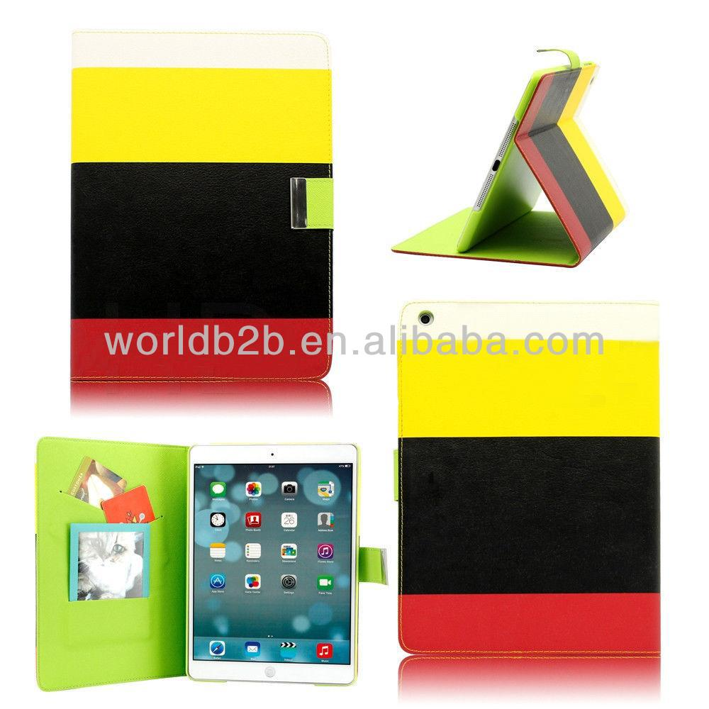 Hybrid PU Leather Wallet Flip Stand Case Cover for iPad Air