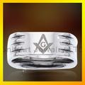 famosos maçônica anel com ranhuras de ajuste de conforto de aço inoxidável ou titânio anéis