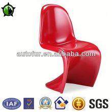 "Modern Fiberglass ABS panton style ""s""shape pink chair plastic"