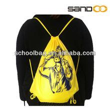Personalized bright yellow nylon gym sack