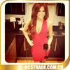 2014 red halter deep v neck bandage sample cocktail dresses pictures