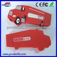 Red truck shape pvc usb stick,cartoon usb flash drive 2.0,optional package
