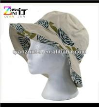 Green flower print floppy sun hat reversible style