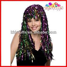 Green & Purple Long Cyber Tinsel Carnival Wigs Wholesale