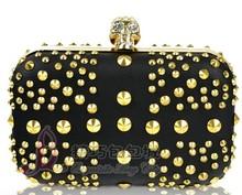 New European and American Punk Skull Clutch Evening Bags Rivet PU Handbag(with alloy chain) Black/Beige