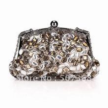 2012 new arrive Punk glass beads satin dinner bag clutch bag 21cm*12*5cm NO253