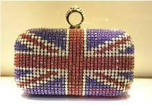 2013 New Luxury Double Diamond Evening Bag British Flag Czech Diamond Bag Fashion Clutch Bag wholesale Free Shipping 1162