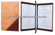 ADAMC - 0087 double sided menu holder / hotel menu cover for hotel using / a4 menu holder made of leather