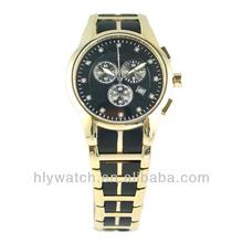 Men's gold-tone and black chronograph quartz sport man watch