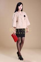 2015 elegant real natural rabbit fur coat for women, pretty beige fashionable winter rex rabbit fur coat