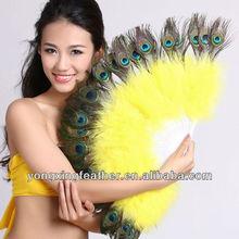 beautiful light yellow peacock feather fan cheap