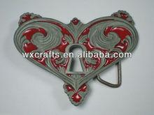 Metal antique finished heart shaped belt buckle