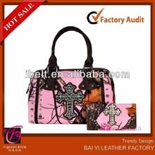 2014 Western Pink Cowgirl Camo MOSSY OAK Rhinestone Cross Tote Purse Bag Wallet SET