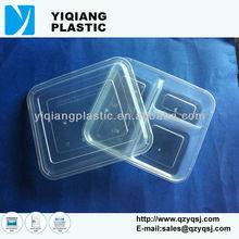 recipiente de plástico transparente con tapa tres compartimentos