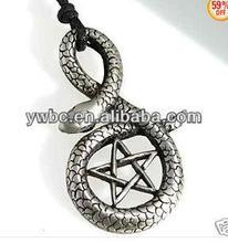 men necklace snake surround pentagram genuine leather pendant necklace (A110591)